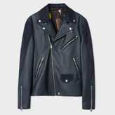 Paul Smith Men's Navy Leather And Suede Biker Jacket