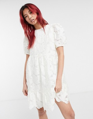 And other stories & jacquard fit and flare mini dress in white
