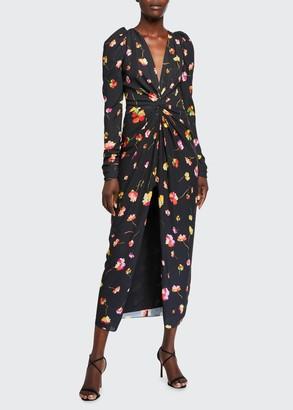 Monique Lhuillier Twisted Floral Chiffon Dress