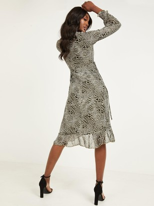 Quiz Ditsy Print Georgette Shearing Long Sleeve Wrap Midi Dress - Khaki