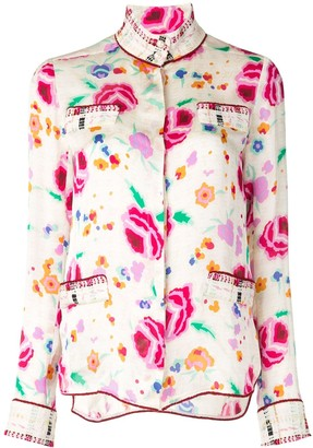 Chanel Pre Owned Watercolour Floral Print Shirt