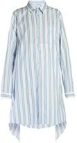 Balenciaga Fold-back striped cotton-poplin shirtdress