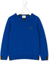 Armani Junior embroidered logo sweatshirt - kids - Cotton/Wool - 4 yrs