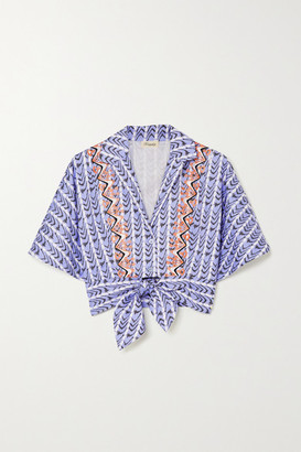 Temperley London Poet Tie-front Embroidered Printed Cotton-poplin Shirt
