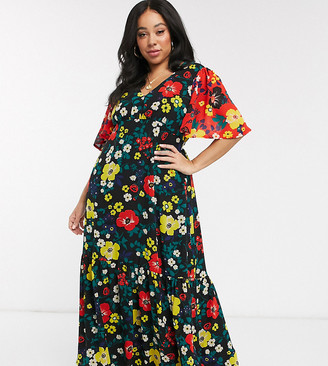 Twisted Wunder Plus printed maxi tea dress in multi floral with contrast sleeves