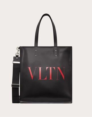 Valentino Garavani Uomo Vltn Leather Tote Bag Man Black/pure Red 100% Pelle Bovina - Bos Taurus OneSize