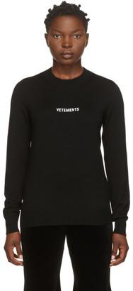 Vetements Black Wool Logo Sweater