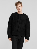 Calvin Klein Collection Boiled Baby Wool Oversized Cable Knit Crew