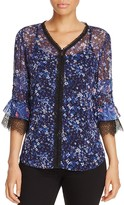 T Tahari Theresa Lace Trim Floral Blouse