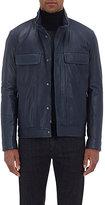 Isaia Men's Leather Bomber Jacket-NAVY