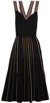 Roksanda Shiori Striped Ribbed Stretch-knit Dress - Black