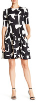 Donna Morgan Two-Tone Graphic Fit & Flare Dress