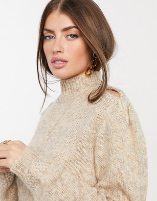 Y.A.S high neck knitted jumper with cut out shoulder in beige