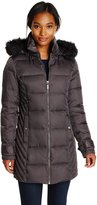 Kenneth Cole Reaction Kenneth Cole Womens Outerwear Chevron Side Panel Down Coat with Faux Fur Hood