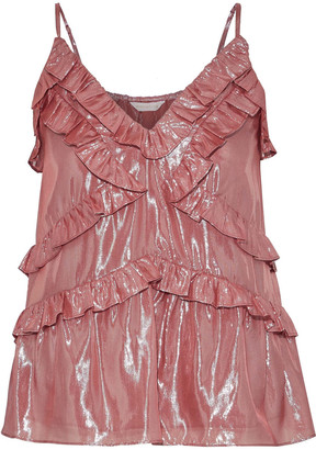 Rebecca Taylor Ruffled Silk And Lurex-blend Camisole