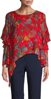 Iro . Jeans Floral Ruffle Silk Asymmetrical Top