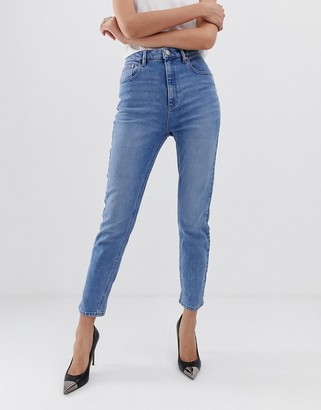ASOS DESIGN Farleigh high waisted slim mom jeans in light stone wash