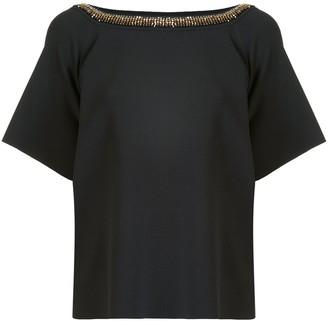 Stella McCartney Beaded Collar Short-Sleeve Blouse