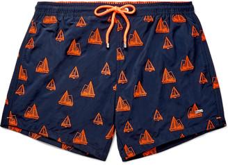 HUGO BOSS Slim-Fit Mid-Length Embroidered Swim Shorts
