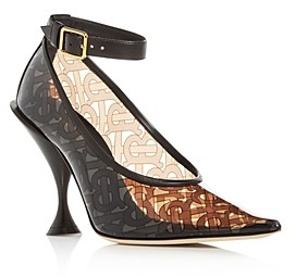 Burberry Women's Monogram Ankle-Strap Pointed-Toe Pumps
