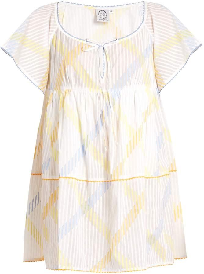 Thierry Colson Raffia stripe-print cotton-voile dress