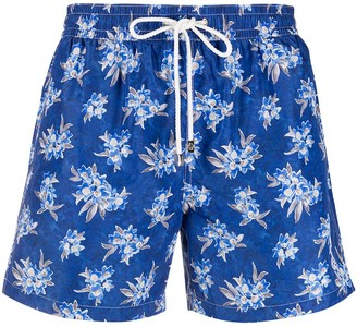 Borrelli Drawstring Small Floral Print Swim Shorts