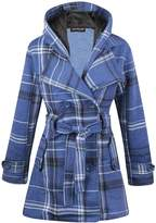 Noroze Womens Check Hood Plus Size Duffle Coat