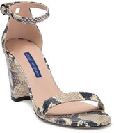 Stuart Weitzman NearlyNude Snake Embossed Ankle Strap Sandal