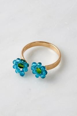 Urban Outfitters Double Bead Flower Ring - Blue S/M at