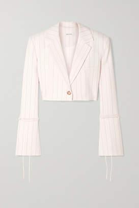 Orseund Iris Box Cropped Pinstriped Wool-blend Blazer - Cream