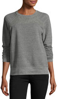Current/Elliott The Seamed Raglan Sweatshirt w/Studs, Heather Gray