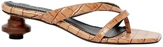 Souliers Martinez Verano Croc-Embossed Leather Thong Sandals