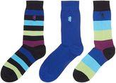 Pringle Men's 3 pack wide stripe bamboo socks