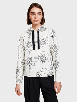 White + Warren Floral Embroidered Hoodie