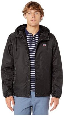 Levi's Flight Satin Coaches Hoodie with Bunny Sherpa (Black) Men's Clothing