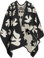 Alexander McQueen Reversible Intarsia Wool And Cashmere-blend Cape - Black