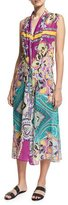 Etro Printed Silk Coverup Midi Dress, Multicolor