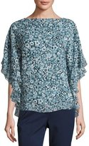 Michael Kors Floral Layered Half-Sleeve Tunic, Blue/Multi