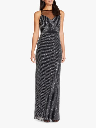 Adrianna Papell Beaded Maxi Gown, Black/Silver