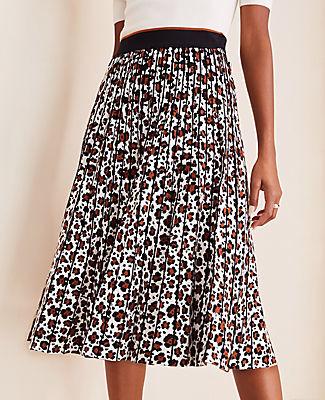 Ann Taylor Petite Animal Print Pleated Sweater Skirt