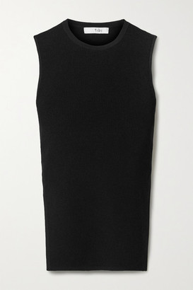Tibi Giselle Open-back Ribbed-knit Tank - Black