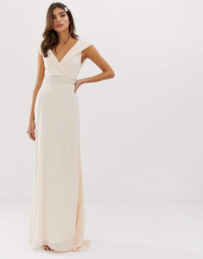 limpid in sight fresh styles release info on Bardot Maxi Bridesmaid Dress With Fishtail and Embellished Waist