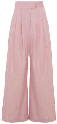 A Line Clothing Pink Wide Trousers With Pleats