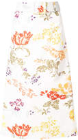Rosie Assoulin floral belted A-line skirt