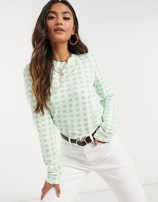 NA-KD check print blouse in green
