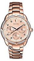 Bulova Diamond Women's Quartz Watch with Rose Dial Analogue Display and Rose Gold Ion-Plated Bracelet 98R178