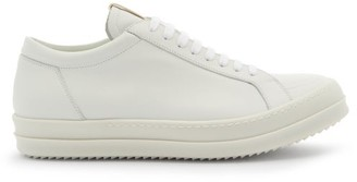 Rick Owens Grooved-sole Leather Trainers - White