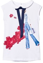 Fun & Fun White Girl Print Glitter Sleeveless Top