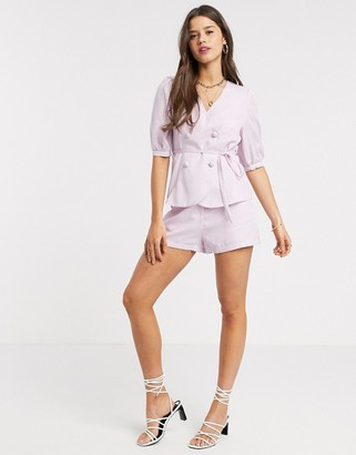 Fashion Union mom shorts in check co-ord