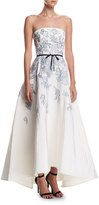 Monique Lhuillier Strapless Embroidered Belted High-Low Evening Gown